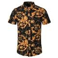 New Brand Dress 2016 Men camisa social slim Clothing 95%Cotton Short Sleeve Shirt Summer beach floral mens dress shirts M~5XL