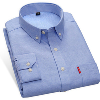New Arrival Oxford Men Shirts Slim Fit Solid Color Long Sleeve Autumn Business Male Casual Shirts