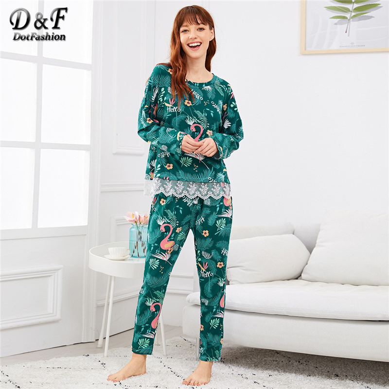 Dotfashion Green Flamingo Print Lace Trim   Pajamas   For Women Autumn Clothes 2019 Casual Long Sleeve Nightwear Summer   Pajama     Sets