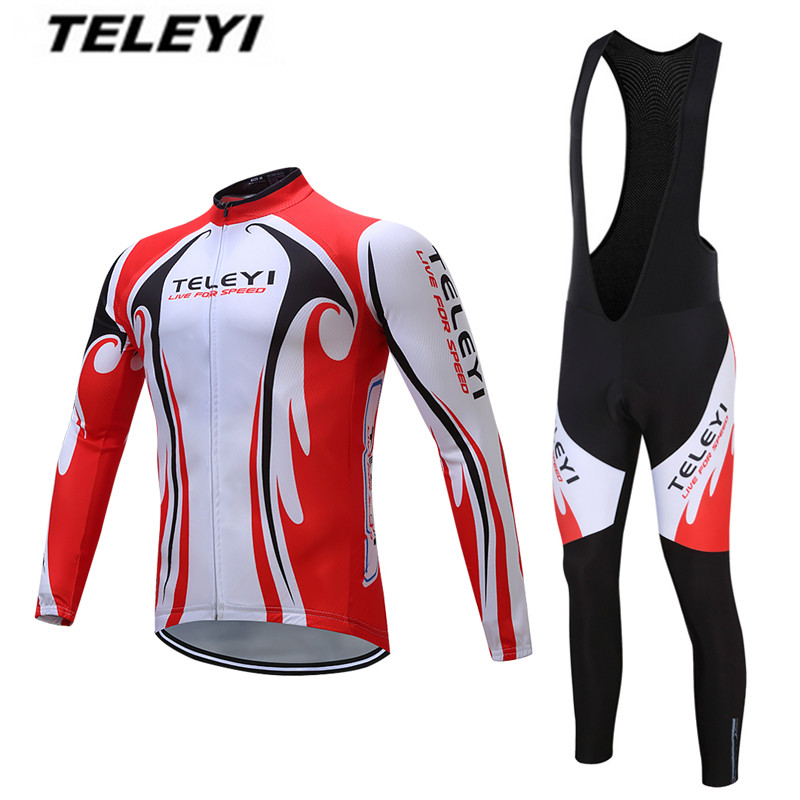 2018 Cycling jersey Sets long men Ropa Ciclismo Maillot MTB Bike jersey Bib Pants Suits Riding Long Sleeve top bottom Shirts
