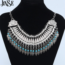 BLS137 Maxi Bohemian Necklace Turquoise Beads Gypsy Ethnic Vintage Choker Collares Necklaces & Pendants Collier Necklace Women vintage jewelry bohemian tibetan silver chain necklaces gypsy ethnic carved metal flower pendants necklaces for women