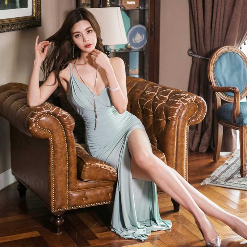 Сексуальное женское платье с v-образным вырезом и глубоким v-образным вырезом, длинное платье с открытой спиной, вечернее платье 2019