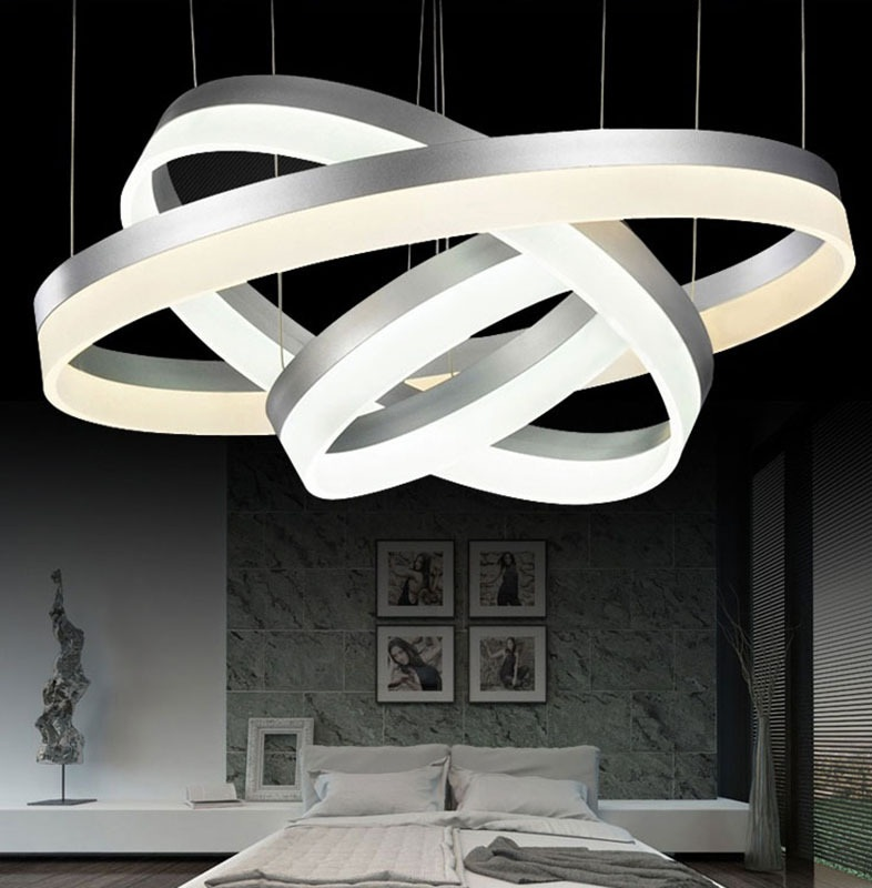 Acrylic Led Ring Chandelier Pendant Lamp Ceiling Light: 1/2/3 Aluminum Ring Acrylic LED Ceiling Lights Home