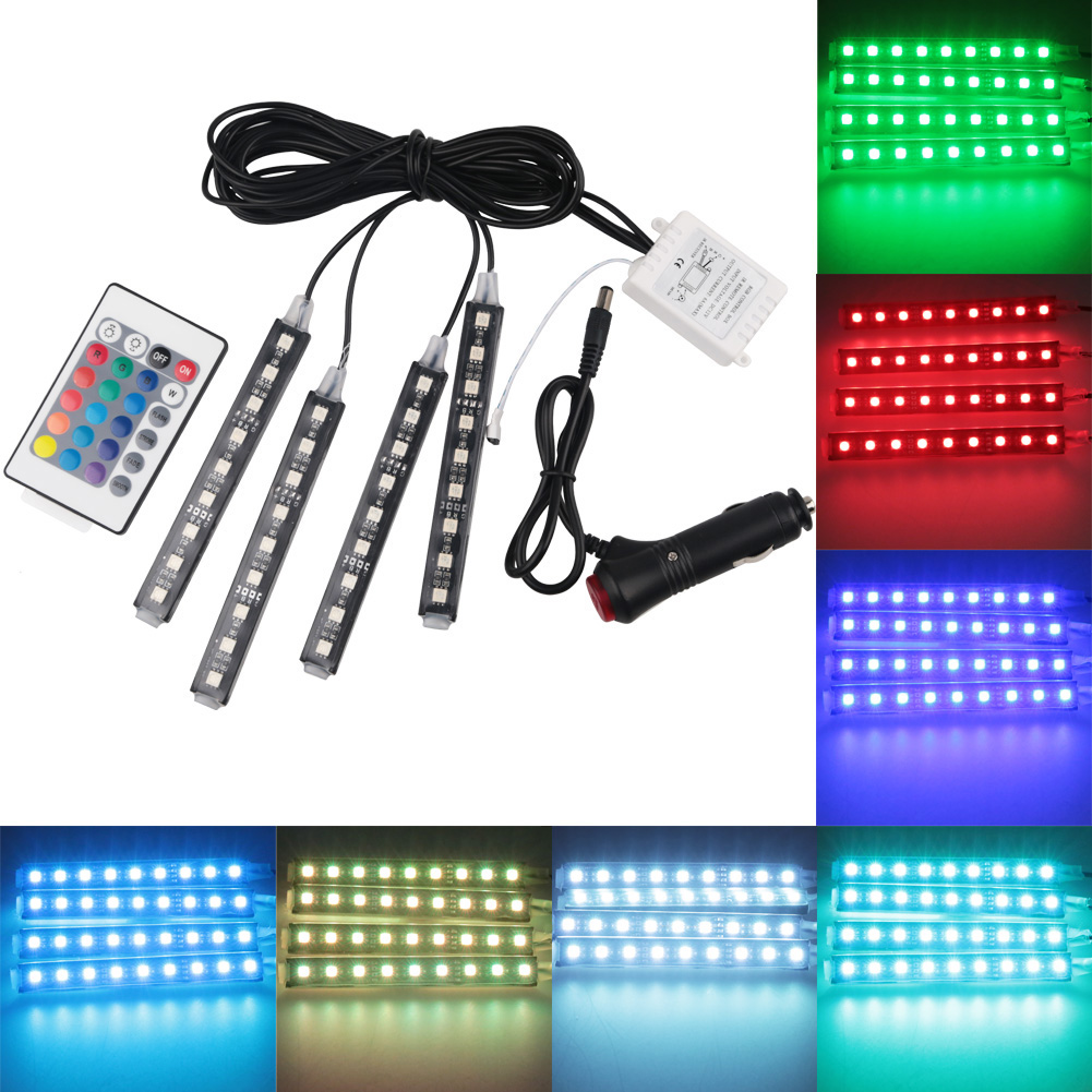 Auto car atmosphere light wireless remote remote control 12v car rgb led strip Light interior floor atmosphere lamp with Remote for toyota corolla avensis yaris rav4 auris hilux prius app control car interior atmosphere decoration lamp rgb led strip light