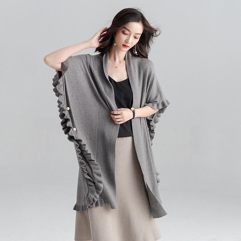 Pull Automne Nouvelle Couleur gris D'oreilles Femme Boucles Noir Mode 2018 Cardigan Tricot Mince Manteau Lâche bleu Long Atmosphère Solide USVpMGqz
