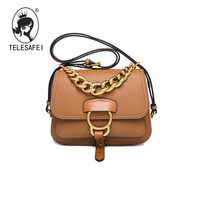Liu Wen Winter 2016 New Chain Fashion Leather Handbag Leather Saddle Bag Shoulder Bag Cross