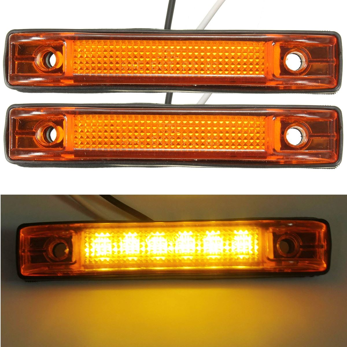 2Pcs 12V Yellow 6 LED Clearance Side Marker Light Indicator Lamp Truck Trailer RV Auto Car LED Turn signal Lights купить