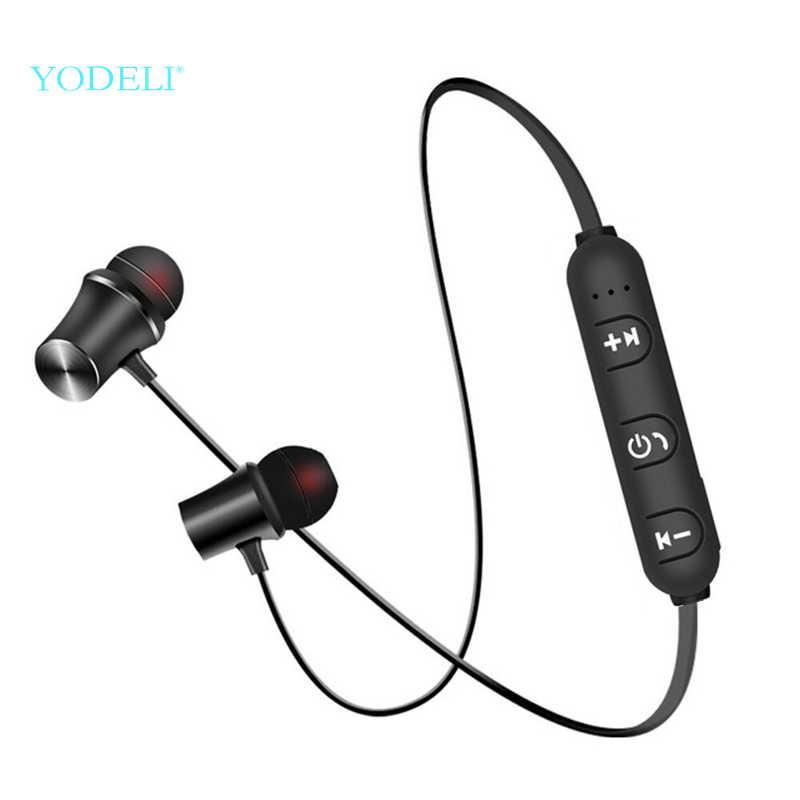 Yodeli z pałąkiem na kark zestaw słuchawkowy Bluetooth bezprzewodowe słuchawki sportowe Metal magnetyczny zestaw słuchawkowy Bluetooth słuchawki douszne z mikrofonem dla xiaomi telefonu iPhone