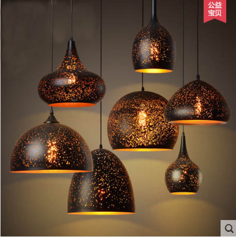 Nordic loft retro iron etching lampshade pendant light single head bar restaurant cafe bar industrial rust hanging lights
