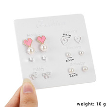 CXW Korean version goes  cute earrings for women set with 6 pairs of heart-shaped leaf zircon S04