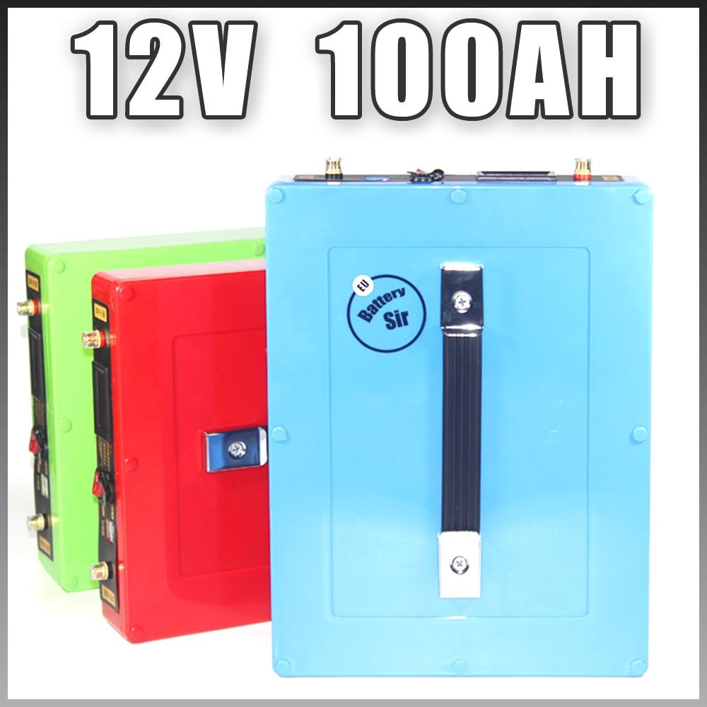 12V 100AH Lithium ion Battery 1000W Waterproof case 5V USB Port Rechargeable 12.6V аккумулятор для фонарика gaotan12v lithium ion battery 12v100ah 12v 100ah