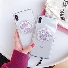Simple transparent hot quicksand liquid star cat claw phone case For iphone Xs MAX XR X