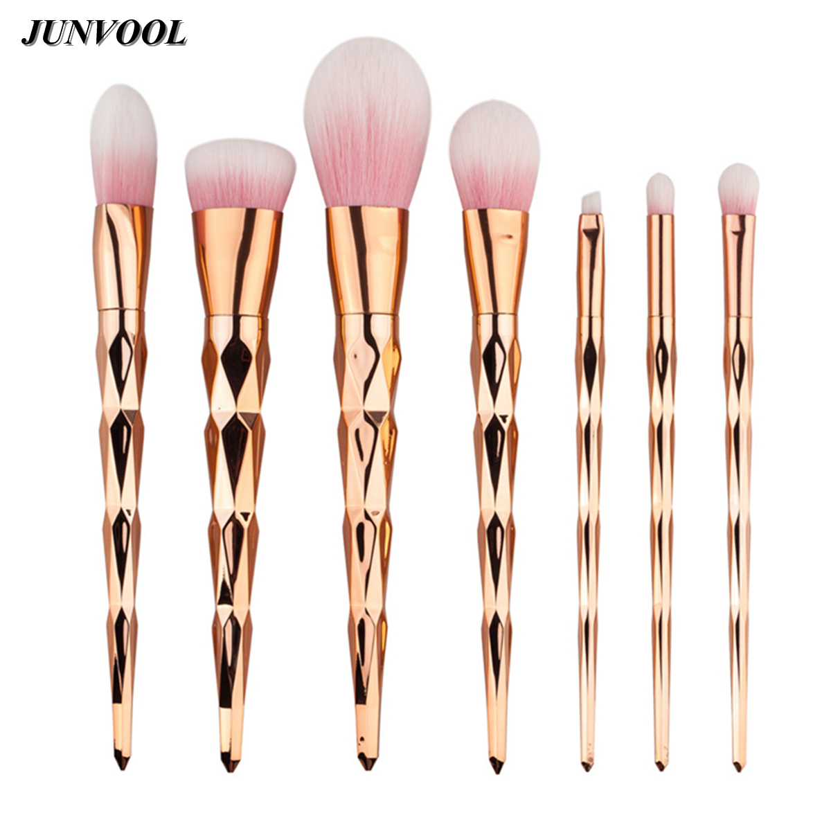 Pink Brush Brochas Pinceis Diamond Rose Gold Color Handle Makeup Brushes 7 Pcs Unicorn Make Up Pincel Kabuki High Quality 1pc professional makeup brush flawless blush powder pinceis brush rose gold metal large kabuki make up brush gub