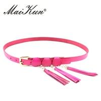Maikun Women S Thin Bohemia Belt Genuine Leather Tassel Charm Decor
