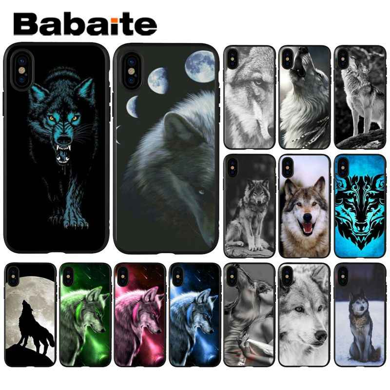 Babaite podły zwierzę wilk twarz wzór miękkie silikonowe czarne etui na telefony dla iPhone 8 7 6 6 S Plus 5 5S SE XR X XS MAX Coque Shell
