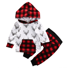 2PCS Set Kid Baby Boys Girls Deer Pullover Hooded Top + Pants Set Children Clothes Outfit 2017 Baby Clothing