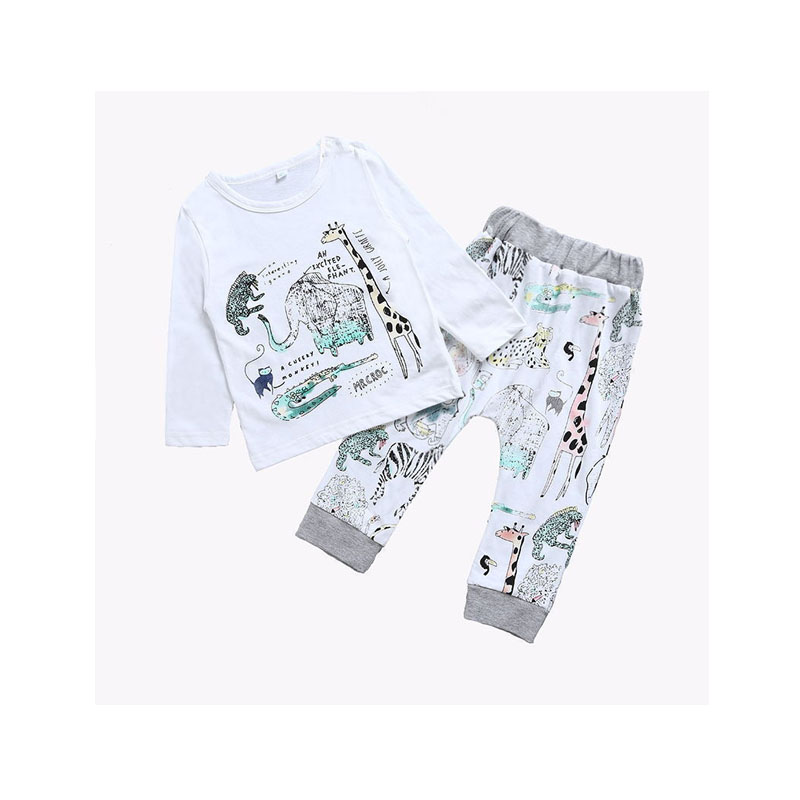 2PCS Outfit Spring Autumn Newborn Toddler Baby Girl Boys Cotton Long Sleeve O-Neck Pullover Cartoon Print White Shirt Tops Pants autumn 2pcs baby girl clothes set print little animal unicorn horse rainbow long sleeve t shirt tops trousers jeans pant outfit