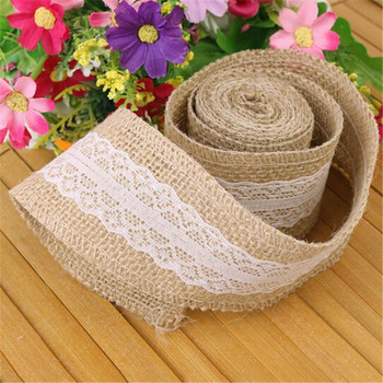 2 Meter Rural Linen Ribbon Wedding Decorative Accessories Natural Jute Burlap Roll for Table Runner Tablecloth