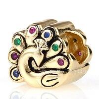 Hot bán zircon micro pave peacock 925 sterling silver châu âu charm beads đối với châu âu trang sức làm sgpb4122
