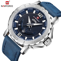New NAVIFORCE Sport Quartz Watch Waterproof Mens Watches Top Brand Luxury Genuine Leather Date Week Clock
