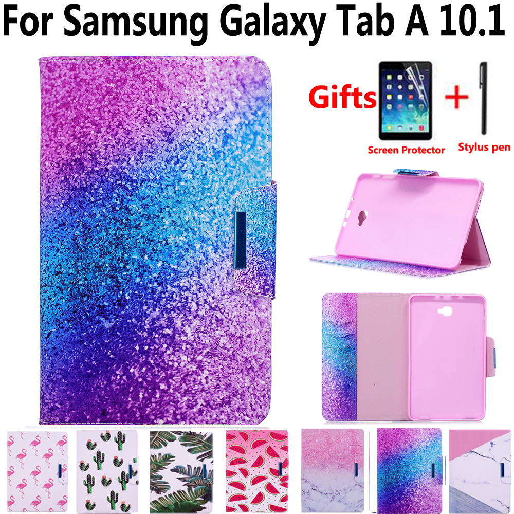 Marble Painted Magnet Pu Leather Cover Case for Samsung Galaxy Tab A6/A 10.1 2016 SM-T580 SM-T585 T580 T585 T580N with Film Pen все цены