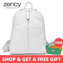 Zency 100% Genuine Leather Fashion Women Backpack Casual Travel Bag Preppy Style Girl's Schoolbag Notebook Laptop Knapsack