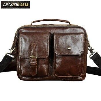 "Original Leather Male Design Casual College Shoulder Messenger Crossbody bag Fashion 12"" Tablets Satchel School Tote bag B611"
