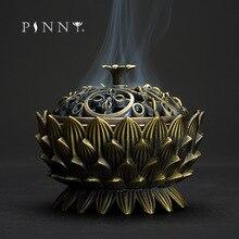 PINNY Large Lotus Metal Tibetan Incense Burner Nepalese Cone Censer Room Decoration Meditation Zen Base Sandalwood
