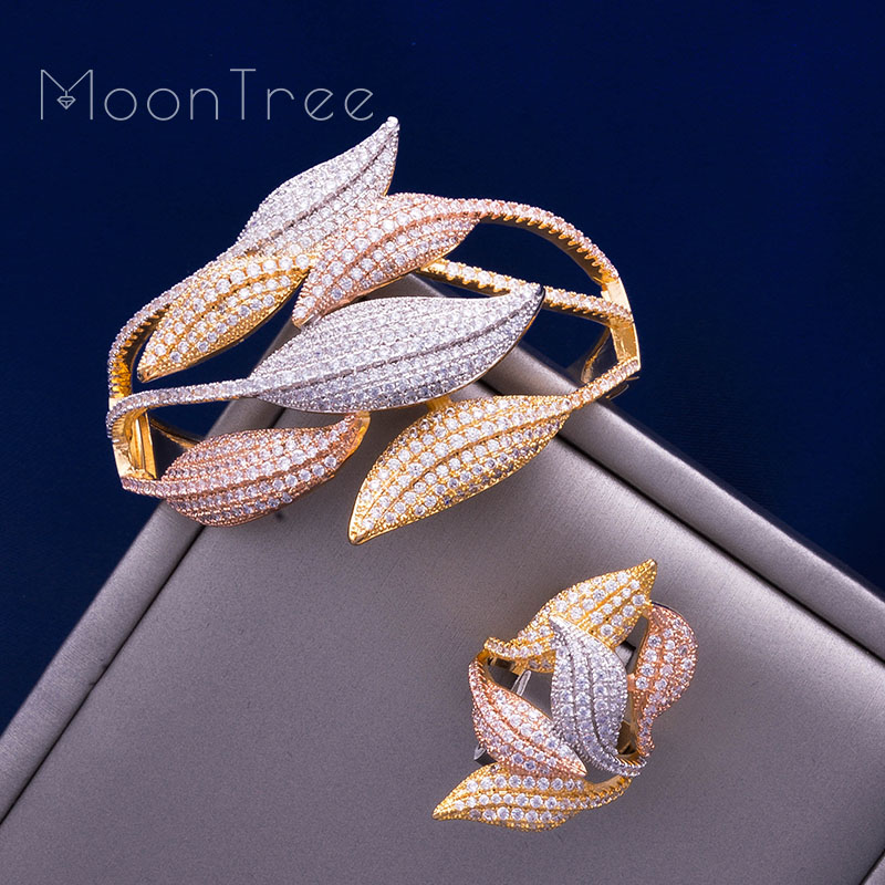 MoonTree Luxury SunFlower 3 Tone Full AAA Cubic Zirconia Wide Bracelet Bangle Ring Set Dress jewelry