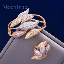 MoonTree Luxury SunFlower 3 Tone Full AAA Cubic Zirconia Wide Bracelet Bangle Ring Set Dress jewelry sets For women