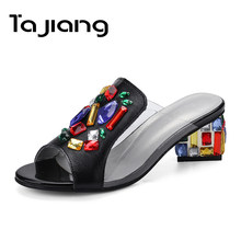 Ta Jiang Genuine Leather Cow Suede Women High Heels Crystal Sandals Party Summer Sandals Beach Slippers Ladies Dress Shoes Woman(China)