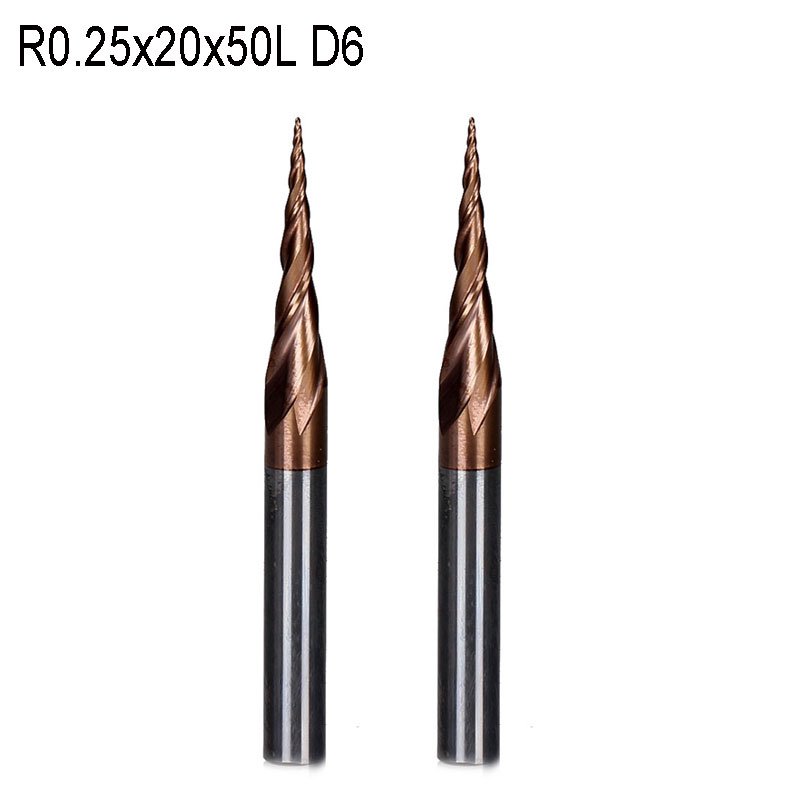 2pc R0.25*D6*20*50L*2F HRC55 Tungsten solid carbide Taper Ball Nose End Mill cone milling cutter cnc router bit wood knife tool