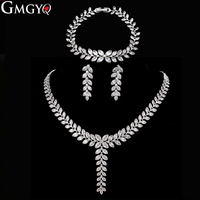 GMGYQ Exclusive Sliver Color Princess Wedding Jewlery Set With aaa Cubic Zircon For Women High Quality Bridal Jewelry