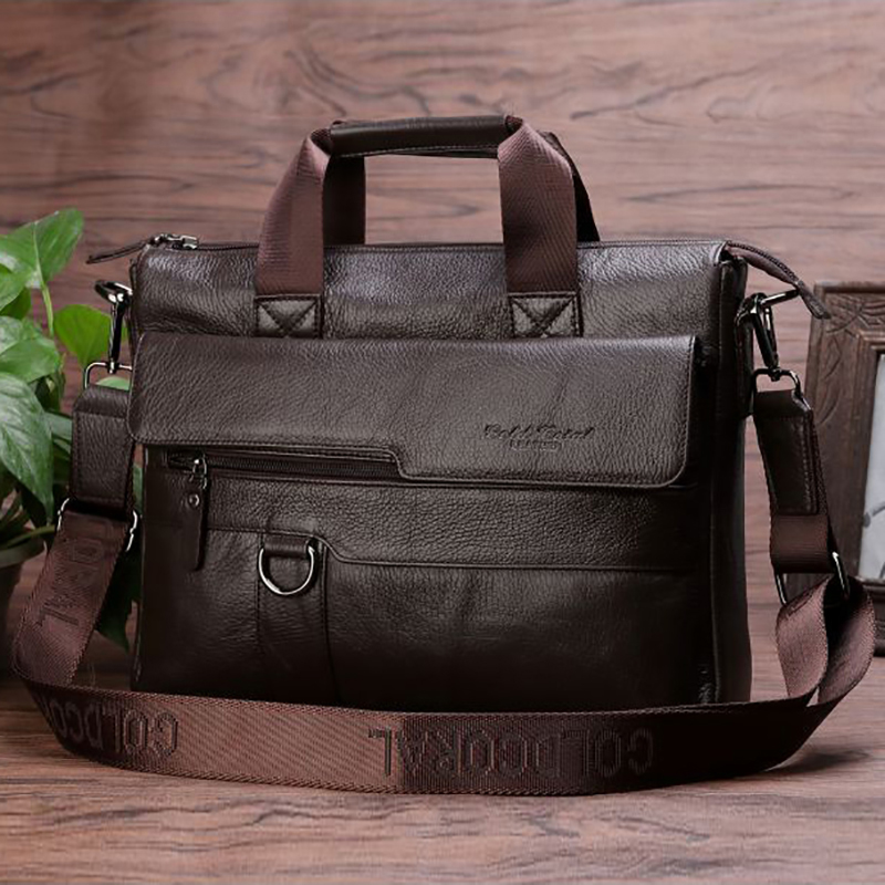 2017 Genuine Leather Men Business Briefcase First Layer Cowhide Tote Handbag Casual Crossbody Shoulder Messenger Laptop Bags New baillr brand men briefcase first layer of cowhide real leather men crossbody shoulder bag men genuine leather handbag for laptop