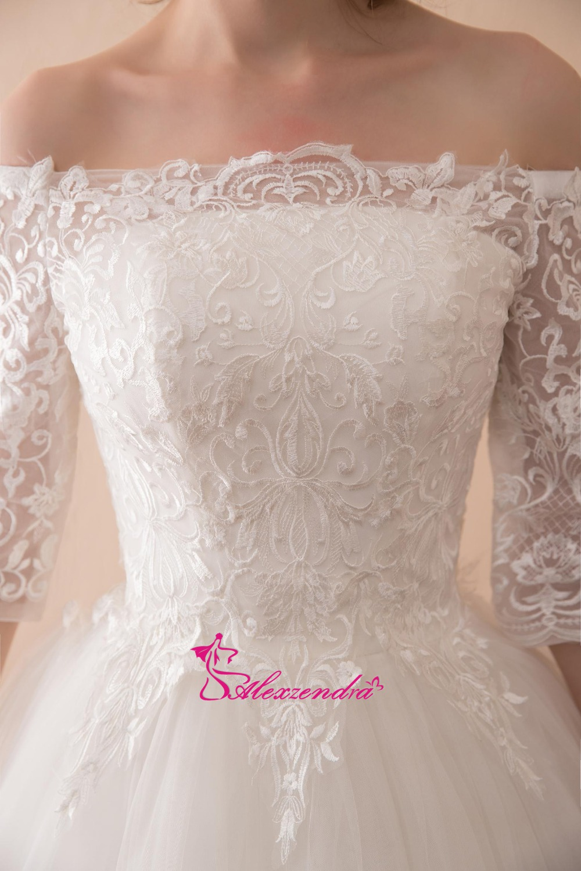 Alexzendra Stock jurken A Line Lace Vintage trouwjurk met korte - Trouwjurken - Foto 6