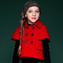 Зимнее пальто мода девушки пальто толще хлопка пальто с коротким рукавом двубортный отложным воротником верхняя одежда 4C0574