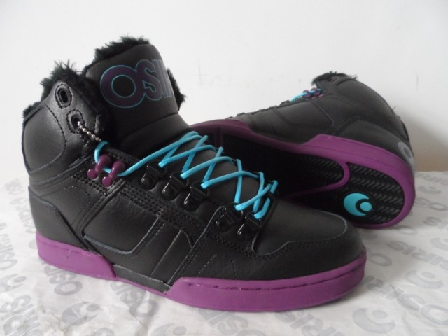 ФОТО Osiris Men Skate boarding Fur Winter Warm Shoe  Black Purple Color Lace Up Men Fashion Xmas Gift for men  Shoes for men NYC83