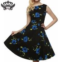 Plus Size Women Vintage Dress Rockabilly Audrey Hepburn 50s Summer Floral Print Dress Casual Sleeveless Vintage