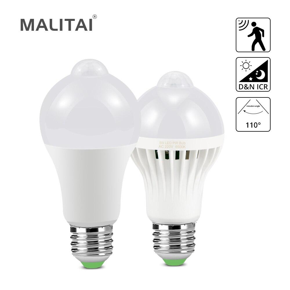 7W 9W 12W 18W PIR Motion Sensor LED Cabinet Light Bulbs E27 220V Dusk To Dawn Night Light Stair Pathway Corridor Emergency Lamps(China)