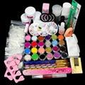 New Manicure Set 25 Nail Art Acrylic Powder Primer Glitte Liquid TIP Brush Glue Dust KITS