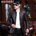FREE SHIPPING ! autumn and winter men's brand Genuine leather business casual suit clothing plus cotton slim outerwear / L-4XL