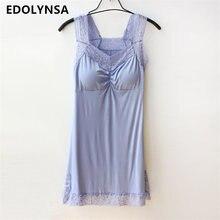 7 цветов качества модальный ночной рубашке Для женщин пижамы Кружево сплошной v-образным вырезом рубашки трусы camisolas de dormir # K12