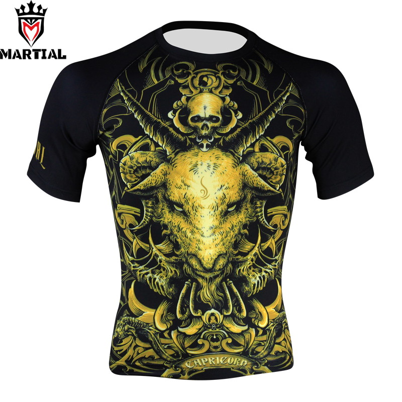 Martial:Capricorn  Original Design Rashguard Mma T Shirts Boxing Mens Outdoor Shirts Crossfit Jerseys Compression Top