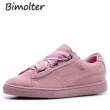 Bimolter Fashion Genuine Leather and Sheep Suede Vulcanize Shoes Female Ribbon Casual Comfortable White Sneakers LFEA022