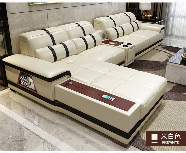 Asiento-Speaker Sofa Couch-Puff Storage-Corner Living-Room L-Shape Bluetooth Canape Real-Genuine-Leather