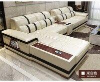 Living Room Sofa storage corner real genuine leather sofas salon couch puff asiento speaker bluetooth canape L shape sofa cama