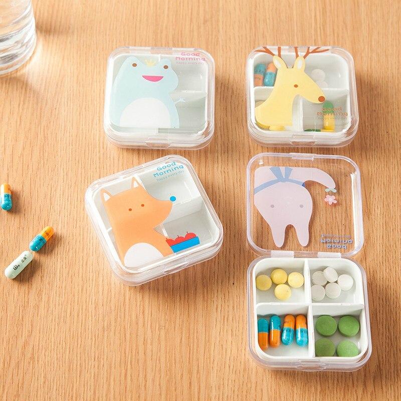 New Cartoon 4 Grids Pill Cutter Box Portable Convenient Drug Box Tablet Cutter Splitter Medicine Pill Box Travel Accessories