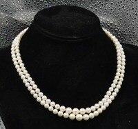 Atemberaubende Absolvent 5-8mm runde weiße 100% Echte Perle Halskette Stieg blume spange
