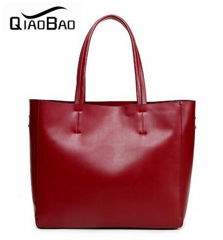 QIAOBAO Genuine Leather Bag Large Women Leather Handbags Famous Brand Women Messenger Bags Big Ladies Shoulder Bag Bolsos Mujer