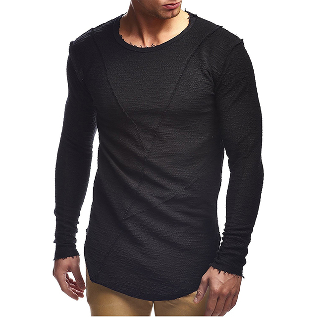 New fashion men's T-shirt 2018 autumn and winter long-sleeved solid color T-shirt men's brand clothes Slim T-shirt 3